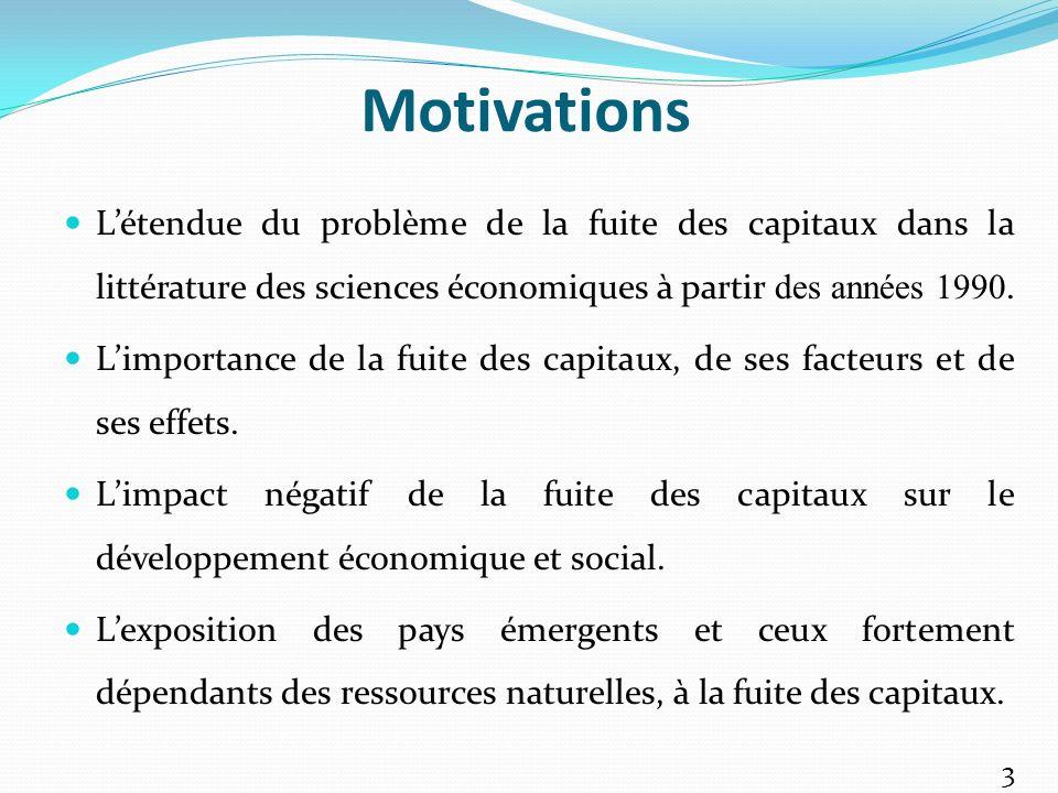 Motivations L'étendue du problème de la fuite des capitaux dans la littérature des sciences économiques à partir des années 1990.