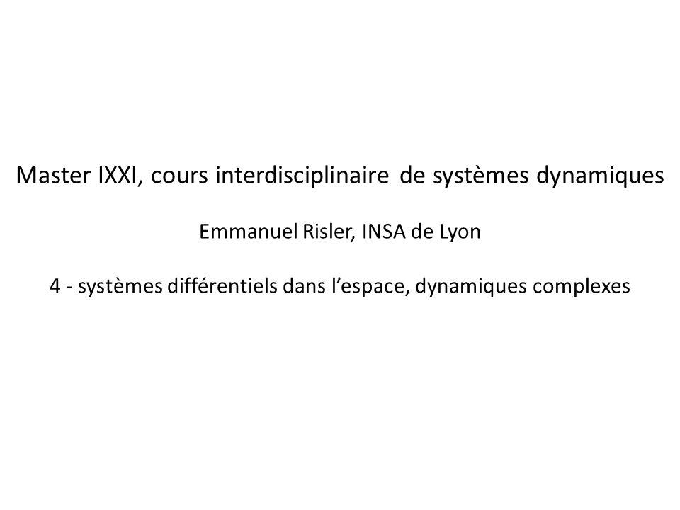 Master IXXI, cours interdisciplinaire de systèmes dynamiques Emmanuel Risler, INSA de Lyon 4 - systèmes différentiels dans l'espace, dynamiques complexes