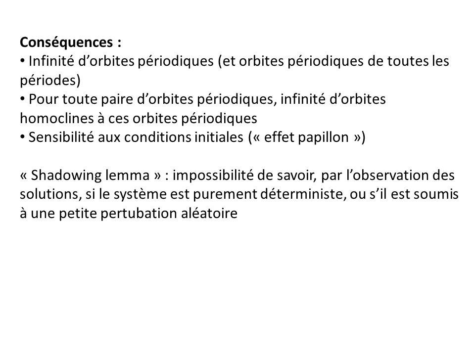 Conséquences :Infinité d'orbites périodiques (et orbites périodiques de toutes les périodes)