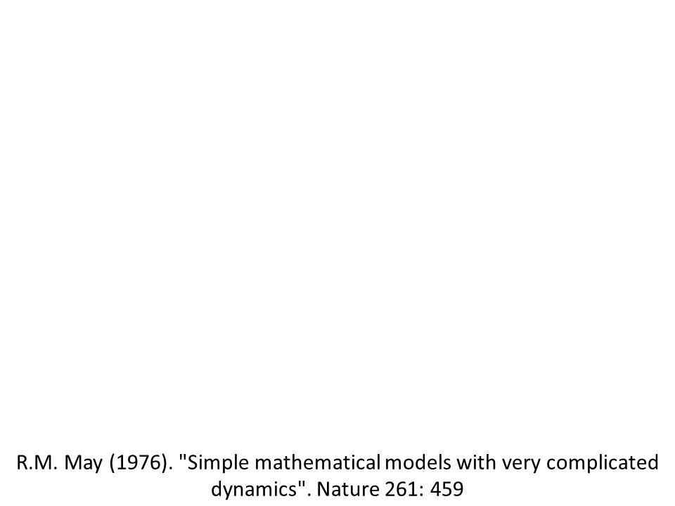R.M. May (1976). Simple mathematical models with very complicated dynamics . Nature 261: 459