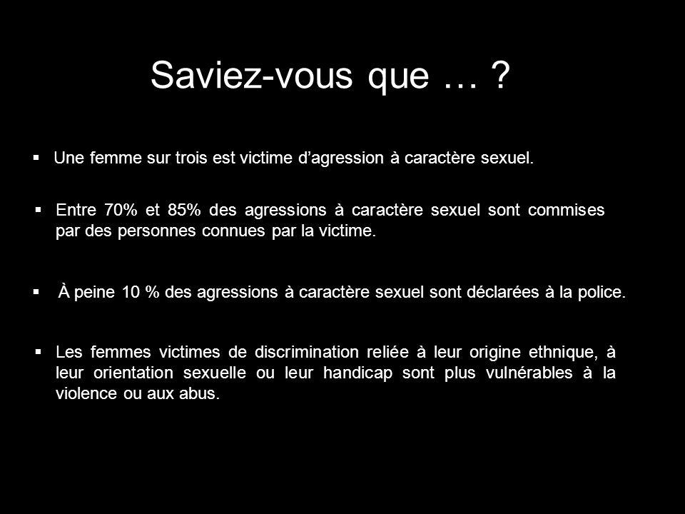 Saviez-vous que … Une femme sur trois est victime d'agression à caractère sexuel.