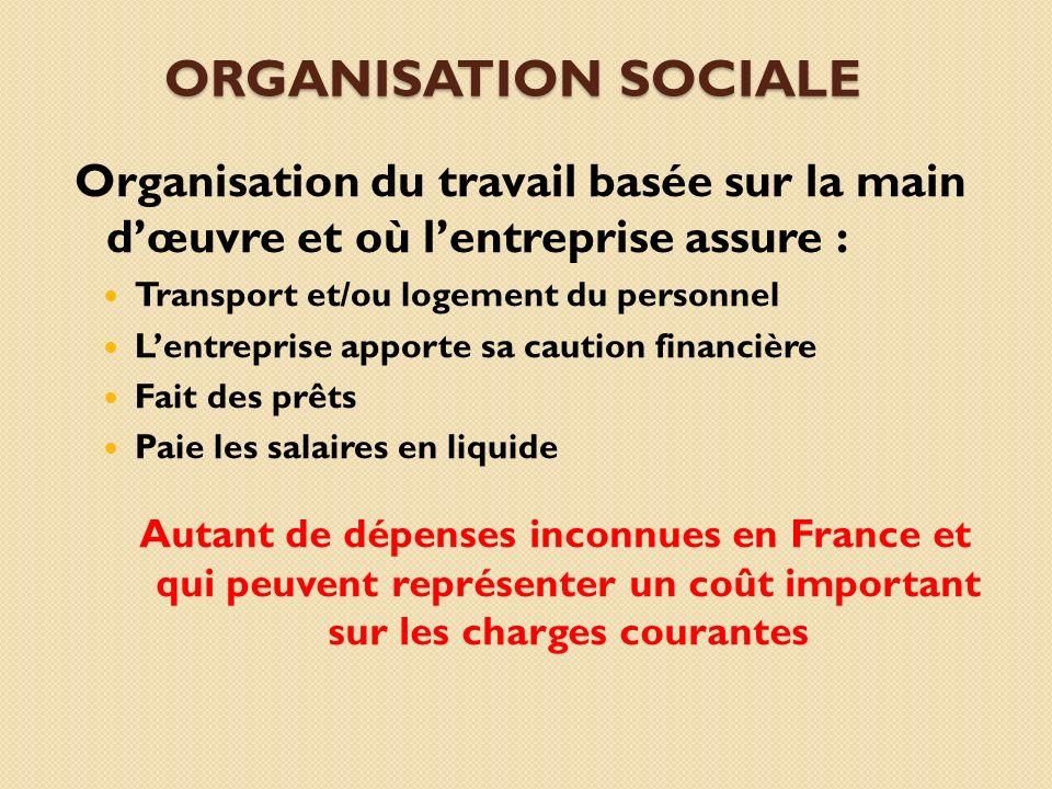 Organisation sociale Organisation du travail basée sur la main d'œuvre et où l'entreprise assure :