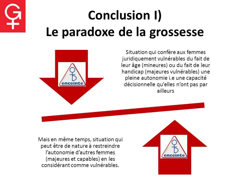 Conclusion I) Le paradoxe de la grossesse