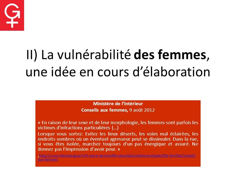 II) La vulnérabilité des femmes, une idée en cours d'élaboration