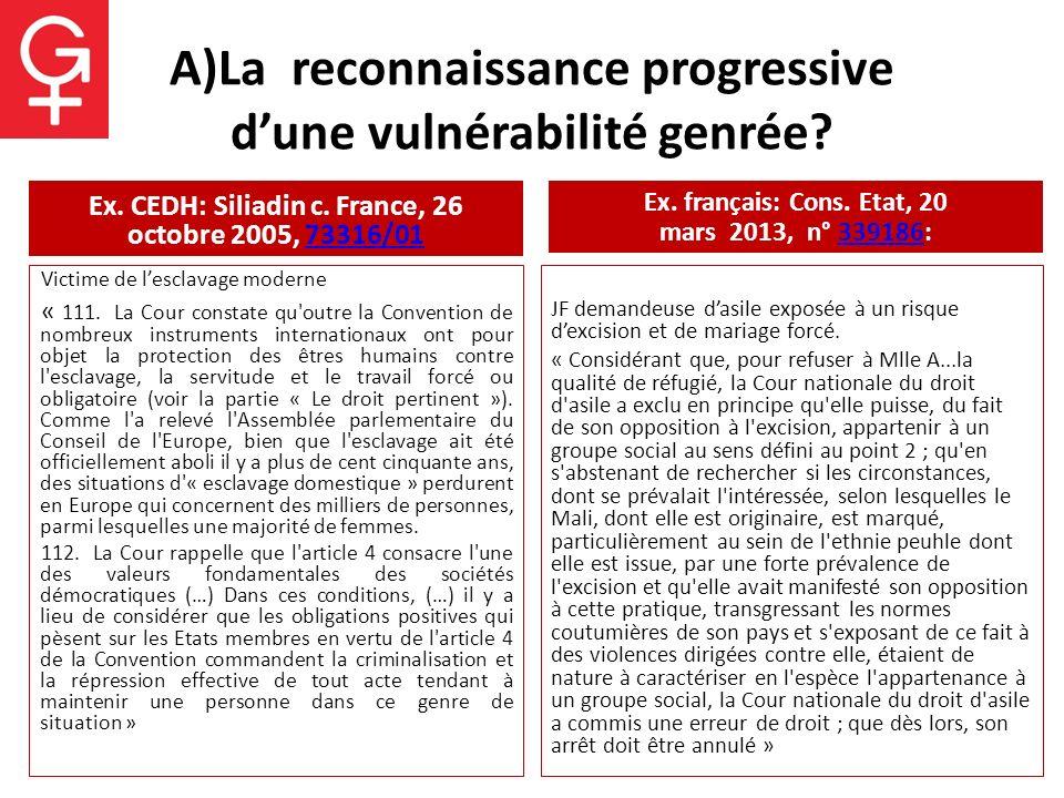 A)La reconnaissance progressive d'une vulnérabilité genrée