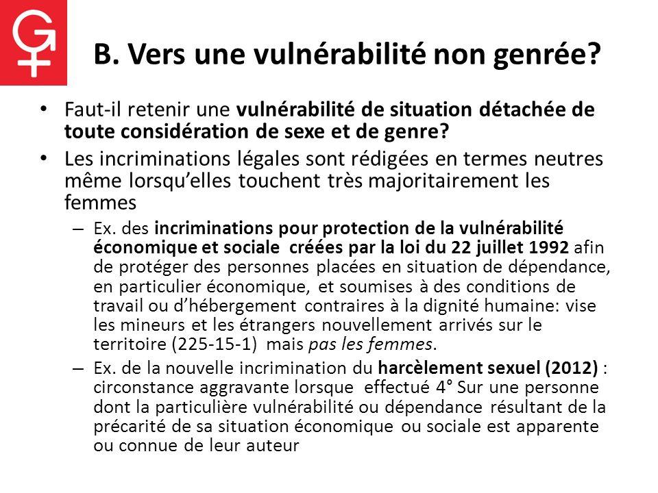 B. Vers une vulnérabilité non genrée