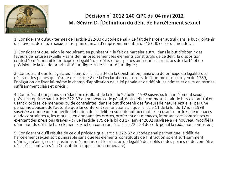 Décision n° 2012-240 QPC du 04 mai 2012 M. Gérard D