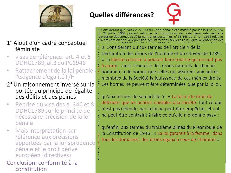 Quelles différences 1° Ajout d'un cadre conceptuel féministe