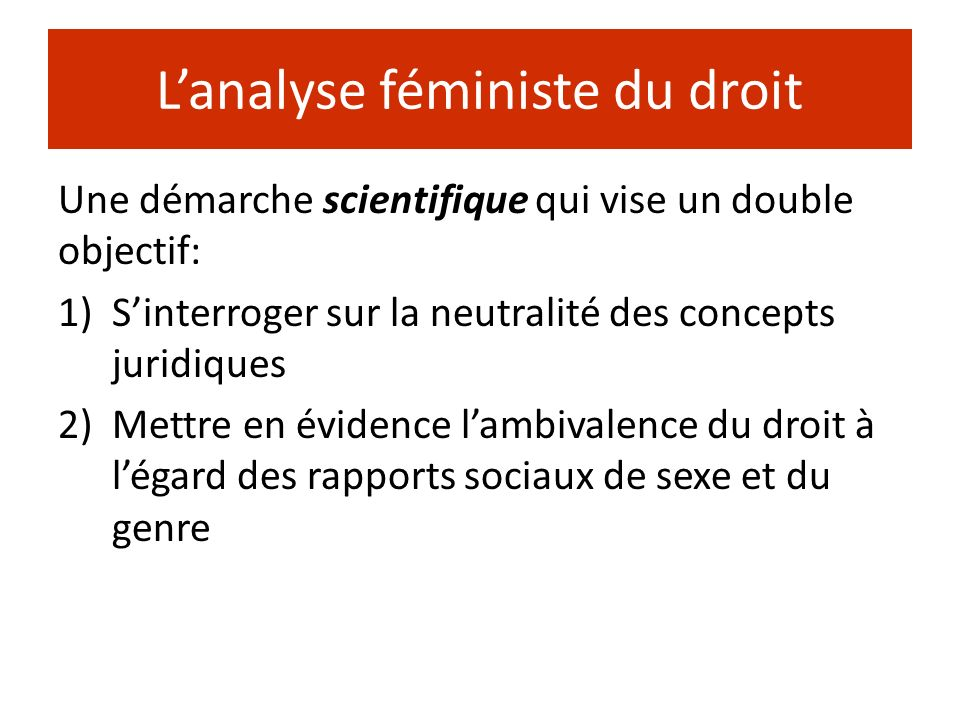 L'analyse féministe du droit