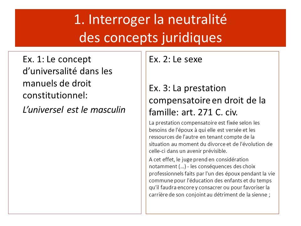 1. Interroger la neutralité des concepts juridiques