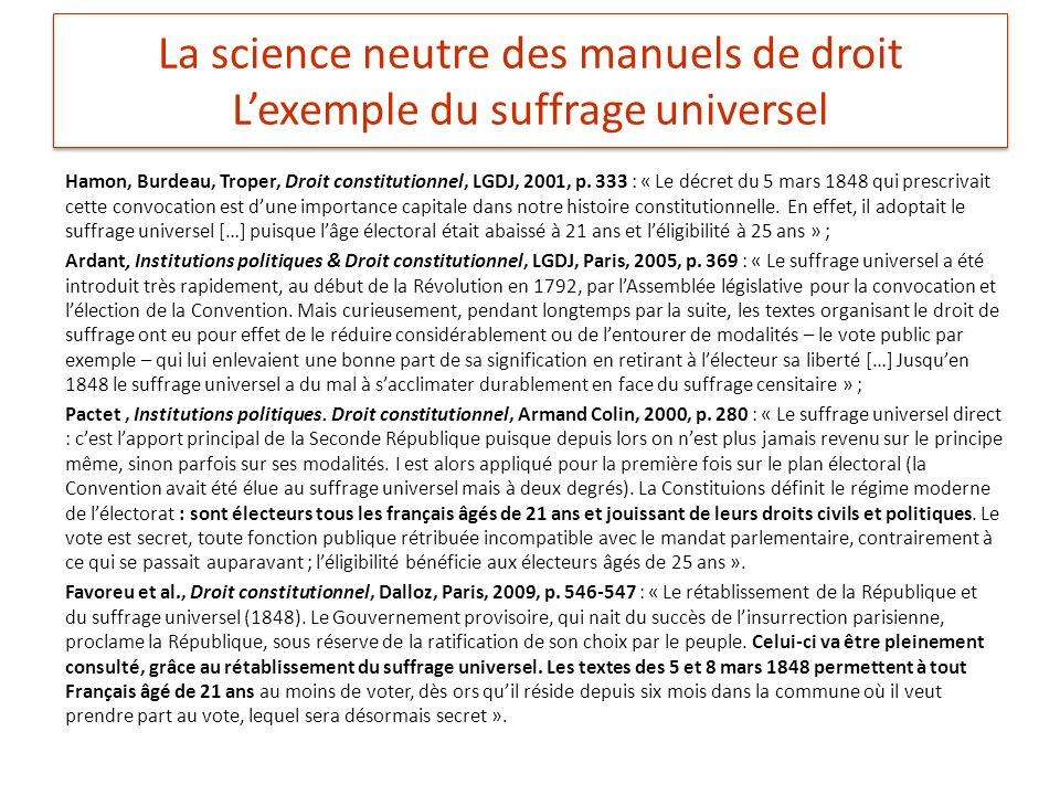 La science neutre des manuels de droit L'exemple du suffrage universel