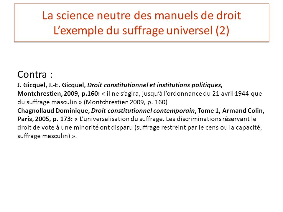 La science neutre des manuels de droit L'exemple du suffrage universel (2)