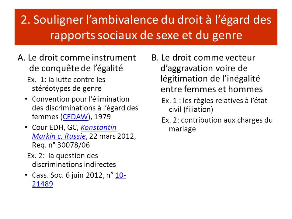 2. Souligner l'ambivalence du droit à l'égard des rapports sociaux de sexe et du genre