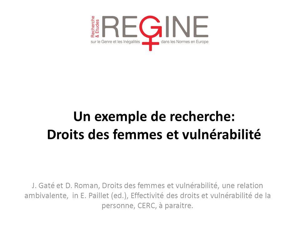 Un exemple de recherche: Droits des femmes et vulnérabilité