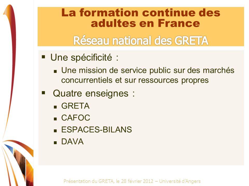 La formation continue des adultes en France Réseau national des GRETA