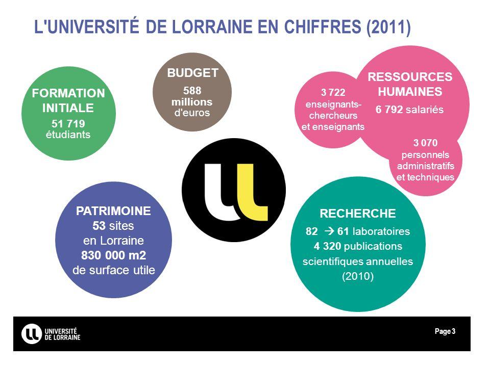 L UNIVERSITÉ DE LORRAINE EN CHIFFRES (2011)