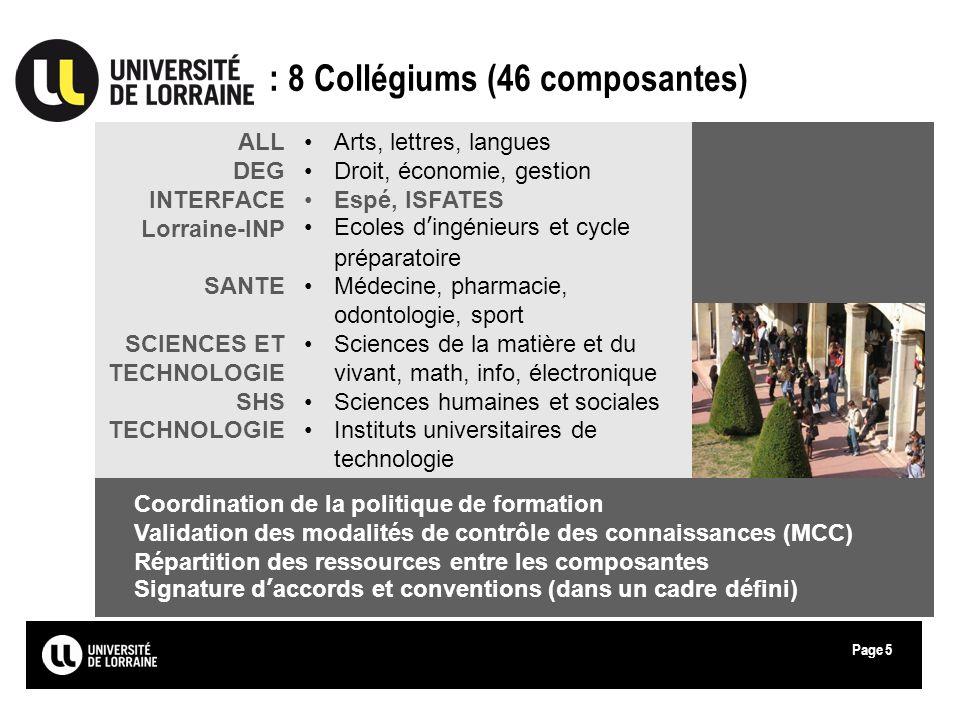: 8 Collégiums (46 composantes)