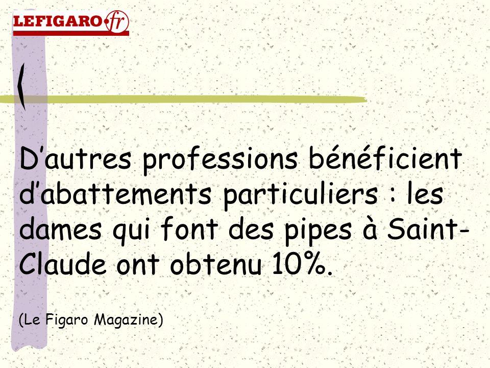 D'autres professions bénéficient d'abattements particuliers : les dames qui font des pipes à Saint-Claude ont obtenu 10%.