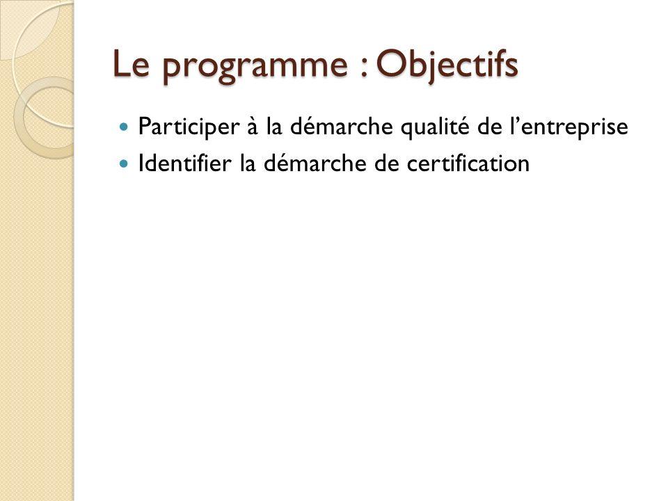 Le programme : Objectifs