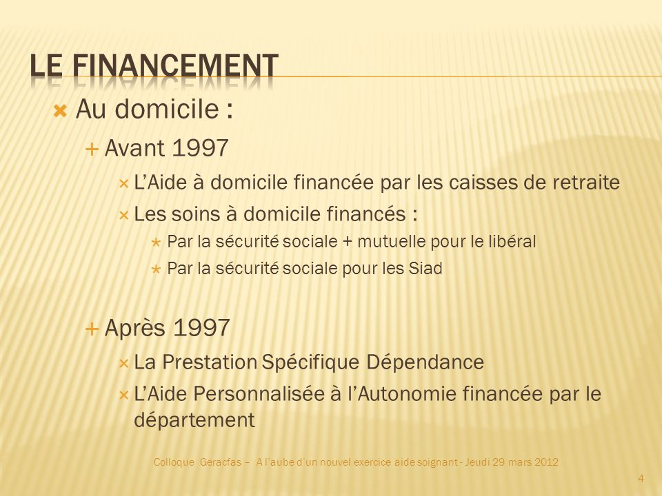 Le Financement Au domicile : Avant 1997 Après 1997