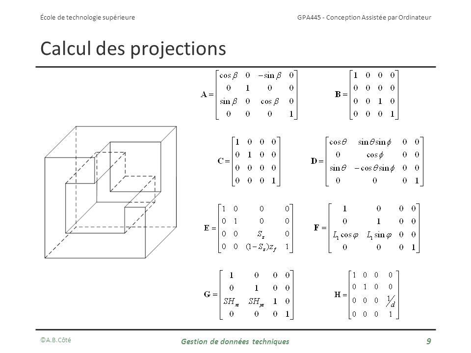 Calcul des projections