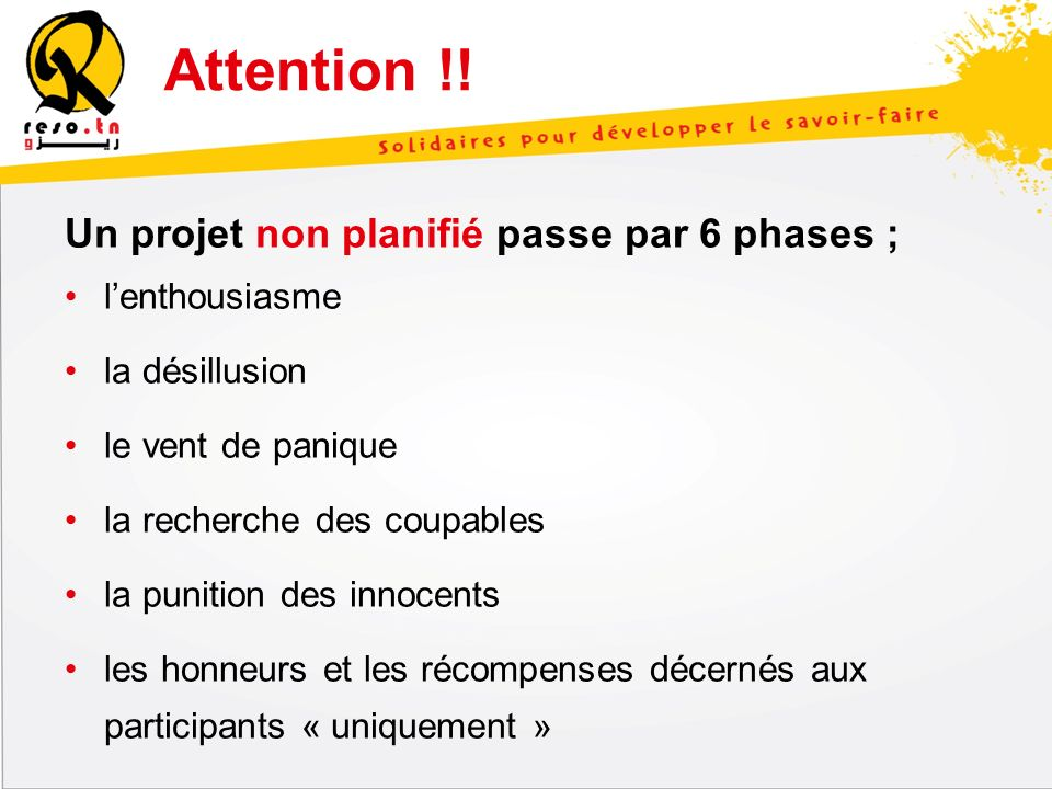 Attention !! Un projet non planifié passe par 6 phases ;