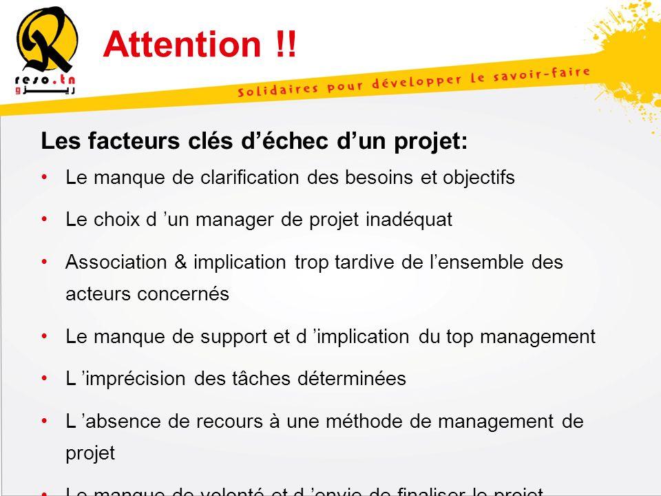 Attention !! Les facteurs clés d'échec d'un projet: