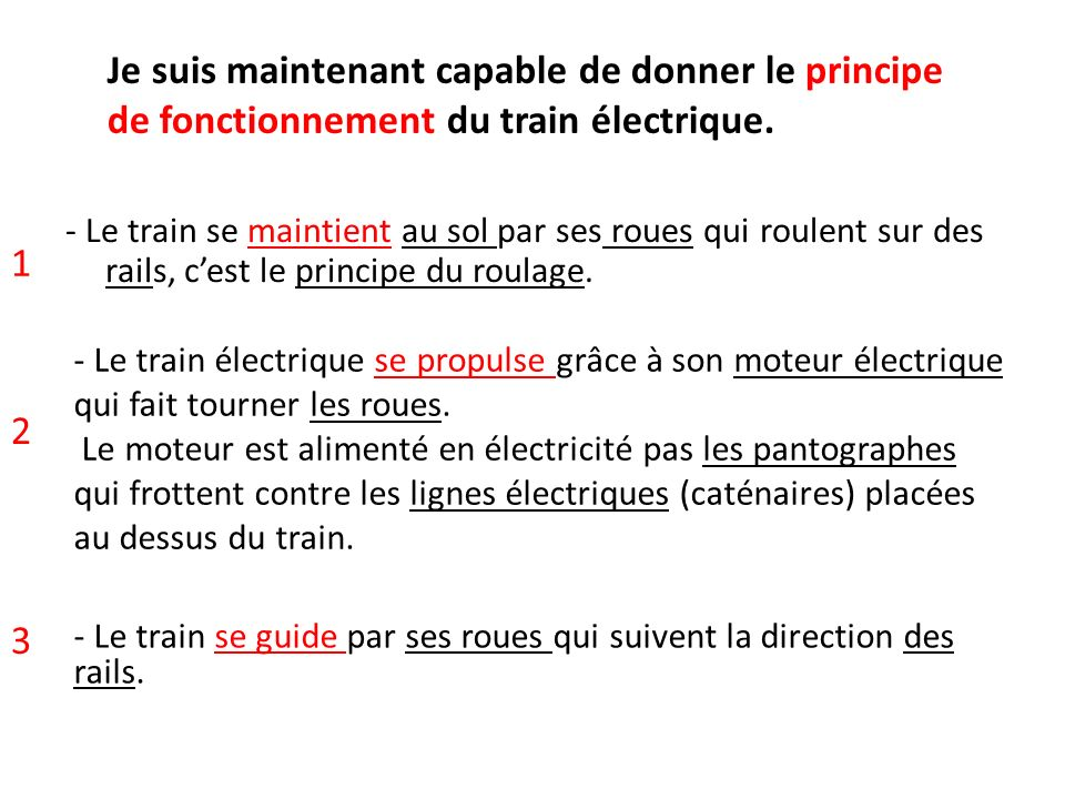 Je suis maintenant capable de donner le principe de fonctionnement du train électrique.