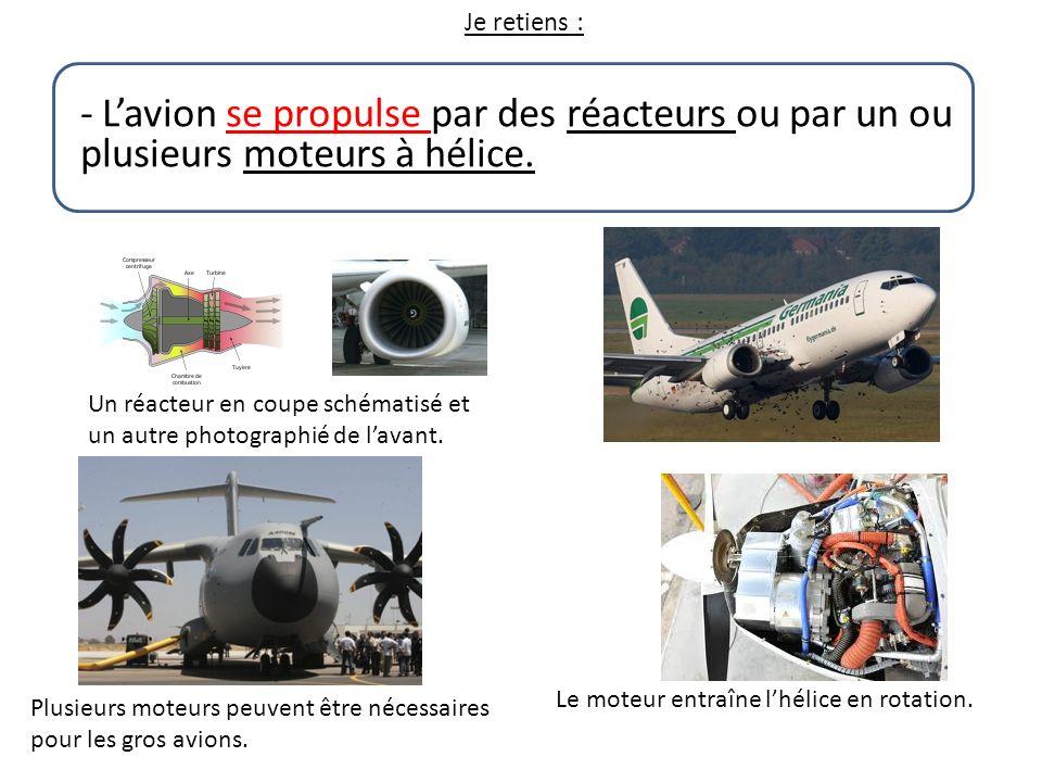 Je retiens : - L'avion se propulse par des réacteurs ou par un ou plusieurs moteurs à hélice.