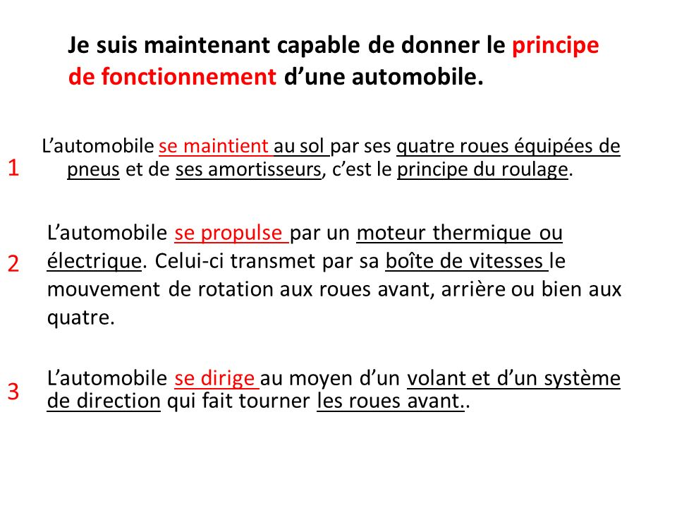 Je suis maintenant capable de donner le principe de fonctionnement d'une automobile.