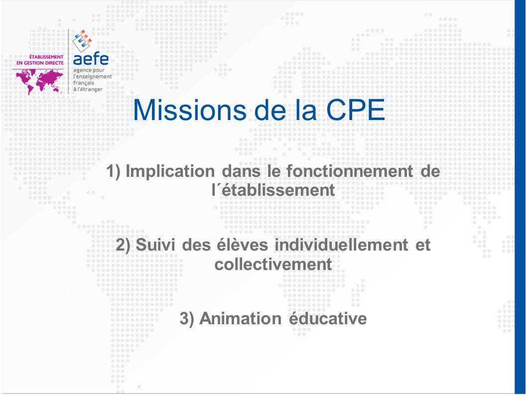 Missions de la CPE 1) Implication dans le fonctionnement de l´établissement. 2) Suivi des élèves individuellement et collectivement.