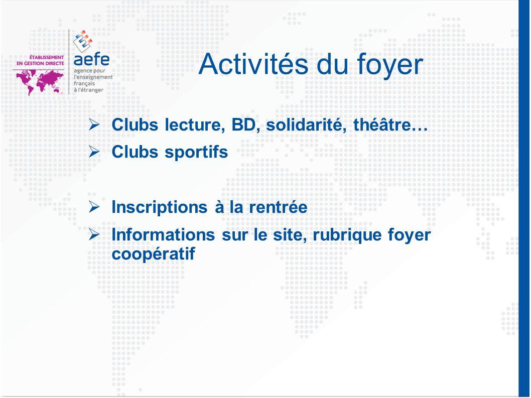 Activités du foyer Clubs lecture, BD, solidarité, théâtre…