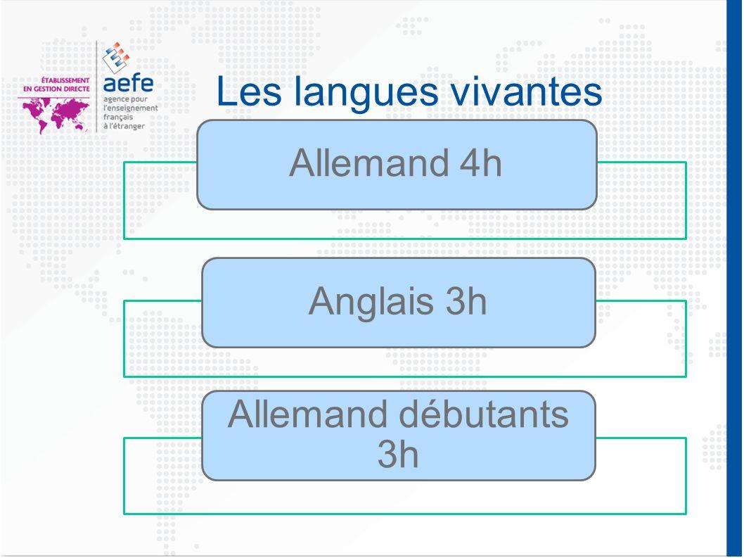 Les langues vivantes Allemand 4h Anglais 3h Allemand débutants 3h