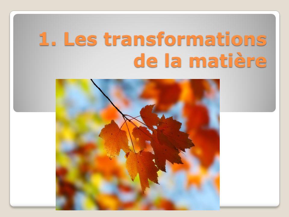 1. Les transformations de la matière