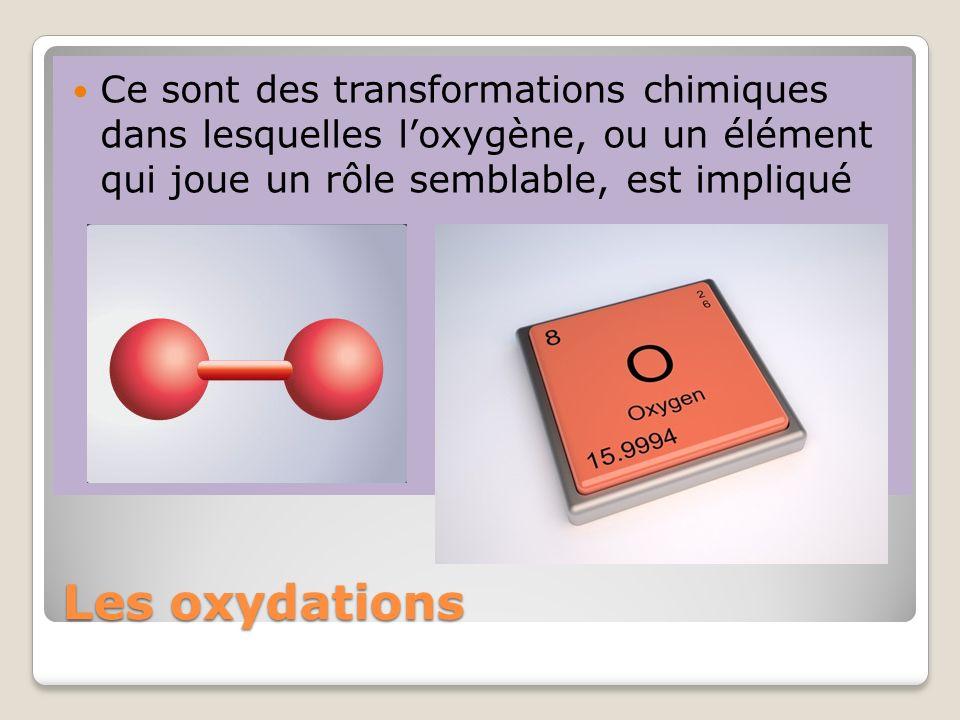 Ce sont des transformations chimiques dans lesquelles l'oxygène, ou un élément qui joue un rôle semblable, est impliqué