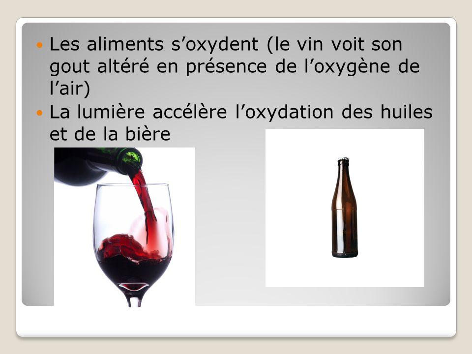 Les aliments s'oxydent (le vin voit son gout altéré en présence de l'oxygène de l'air)