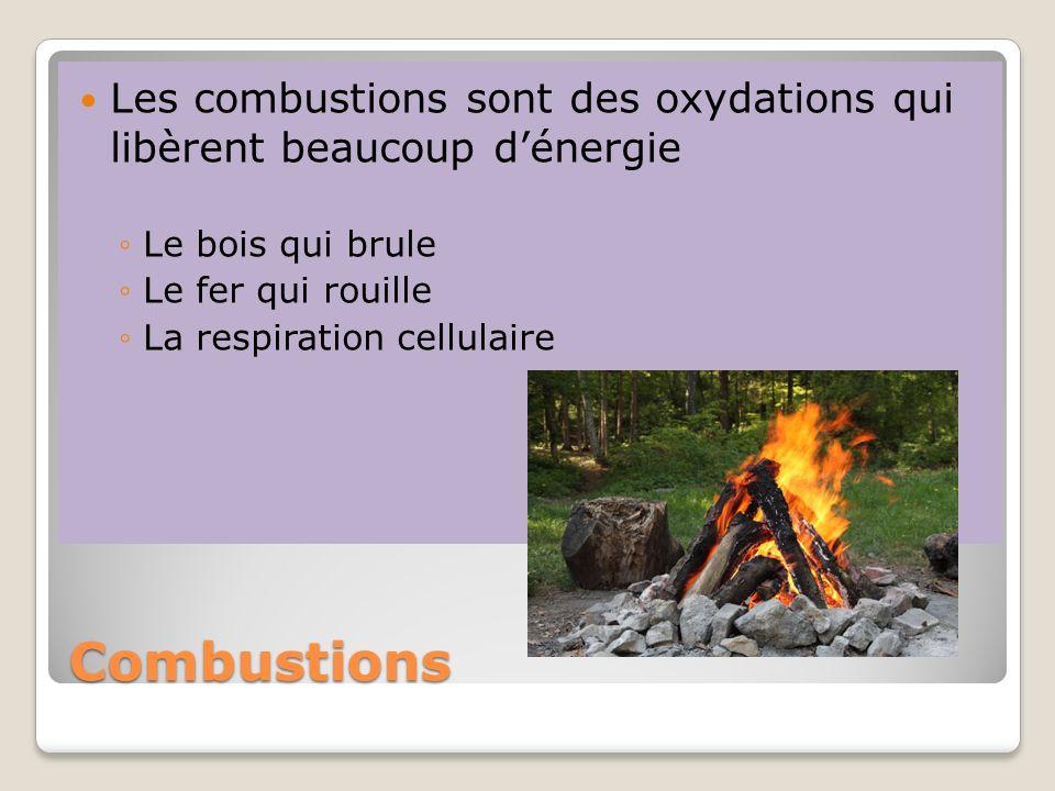 Les combustions sont des oxydations qui libèrent beaucoup d'énergie