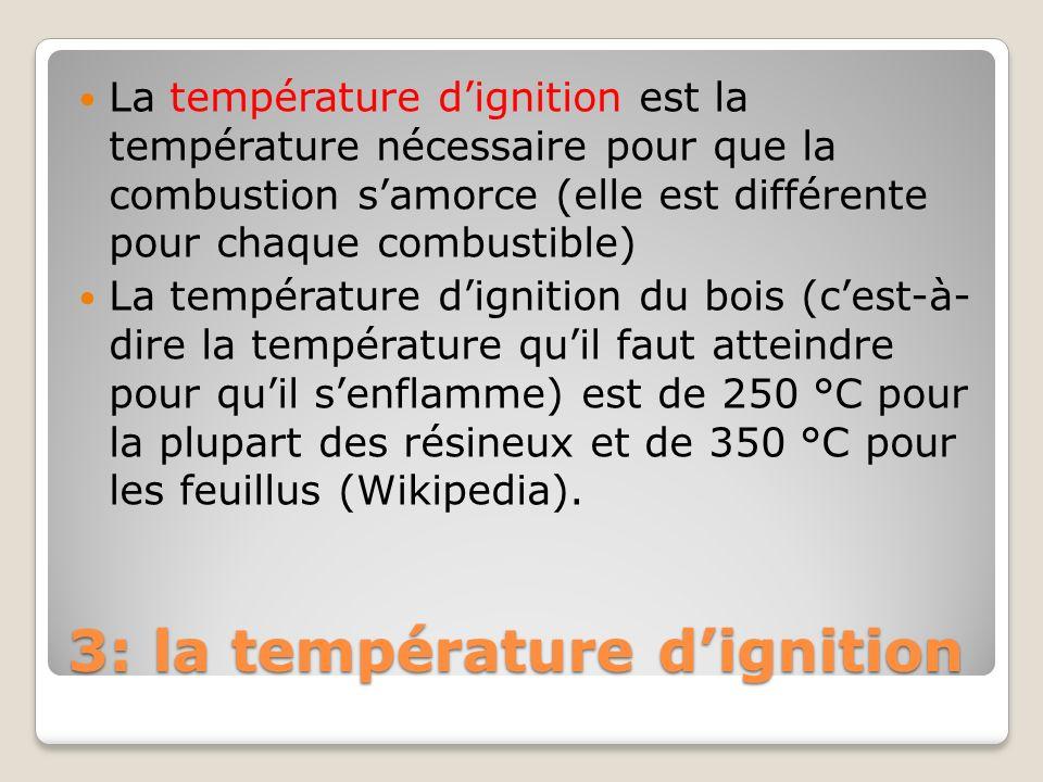 3: la température d'ignition