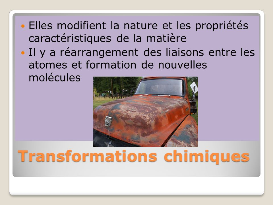 Transformations chimiques