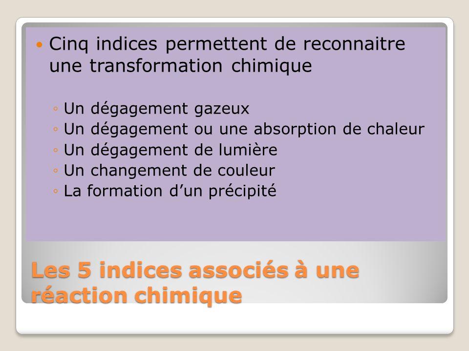 Les 5 indices associés à une réaction chimique