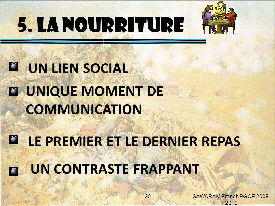 5. LA NOURRITURE UN LIEN SOCIAL UNIQUE MOMENT DE COMMUNICATION