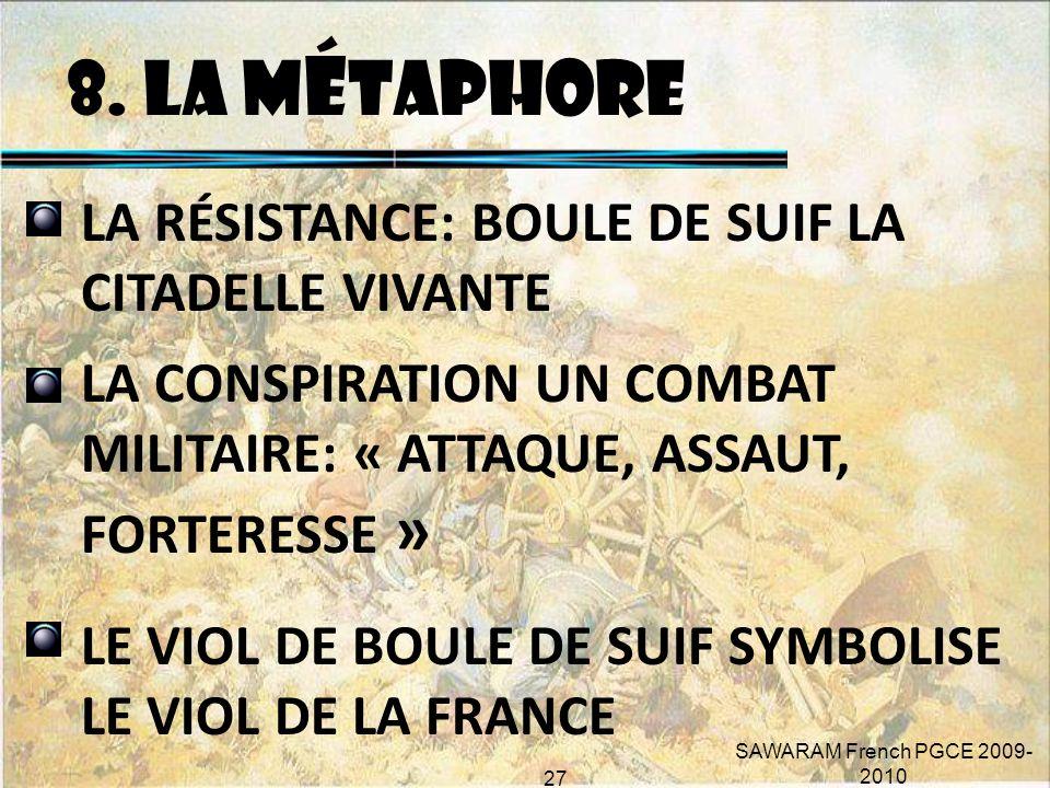 8. LA MÉTAPHORE LA RÉSISTANCE: BOULE DE SUIF LA CITADELLE VIVANTE