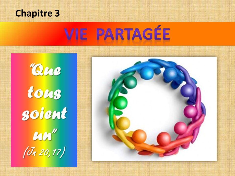 Chapitre 3 VIE PARTAGÉE Que tous soient un (Jn 20,17)