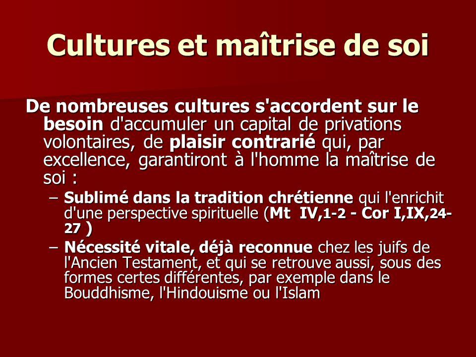 Cultures et maîtrise de soi