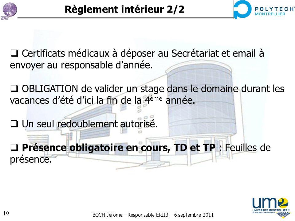 Règlement intérieur 2/2 Certificats médicaux à déposer au Secrétariat et email à envoyer au responsable d'année.