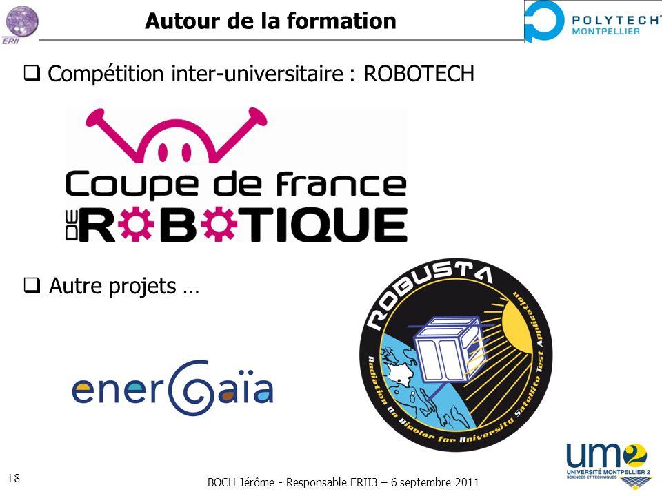 Autour de la formation Compétition inter-universitaire : ROBOTECH Autre projets …