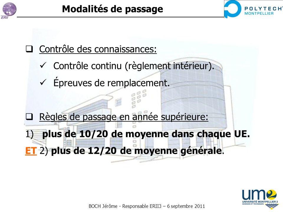 Modalités de passage Contrôle des connaissances: Contrôle continu (règlement intérieur). Épreuves de remplacement.