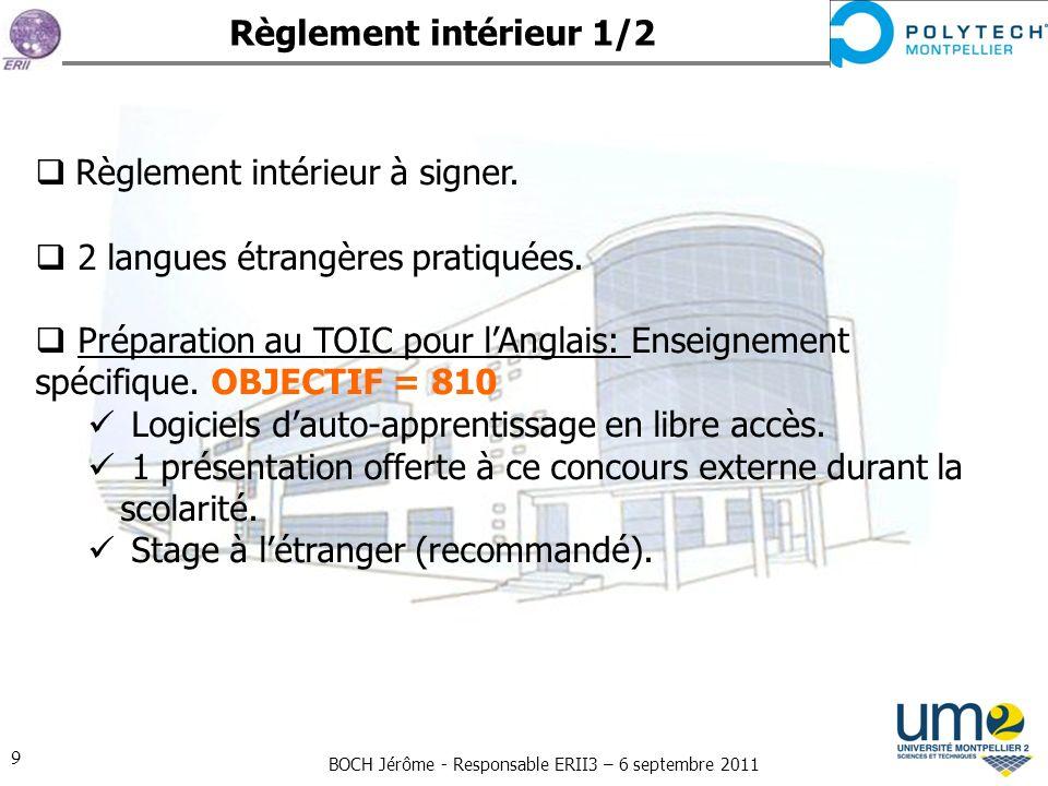 Règlement intérieur 1/2 Règlement intérieur à signer. 2 langues étrangères pratiquées.