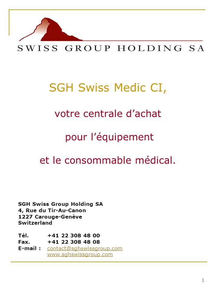 SGH Swiss Medic CI, votre centrale d'achat pour l'équipement
