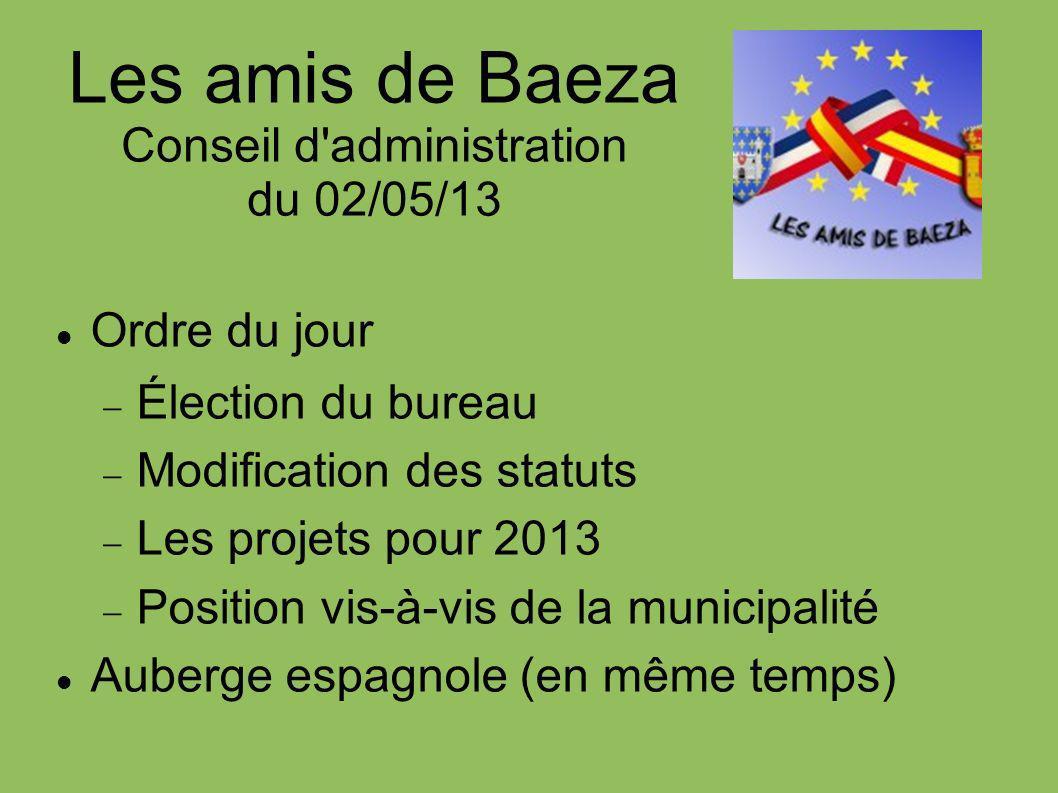 Les amis de Baeza Conseil d administration du 02/05/13